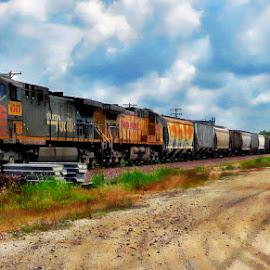 Rolling through the prairie by Tricia Scott - Transportation Trains ( rails, engine, train, prairie, country )
