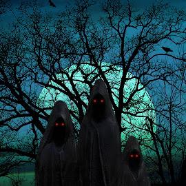 The Minions by Elizabeth Burton - Digital Art Things ( scary, moon, minion, spooky, crow, teal, evil eye, halloween, wicked, minions, raven, foggy, tree, bats, blue, night, full moon, evil, black, branches, all hallow's eve, myst,  )