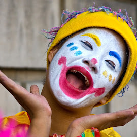 Happy face by Mike O'Connor - People Musicians & Entertainers ( open, laugh, clown, mouth, happy, perform, smile,  )
