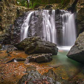 Falls by Jeb Buchman - Landscapes Waterscapes ( water, stream, falls, waterfall, rocks, river )