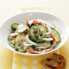 Onion and Cucumber Salad with Salmon
