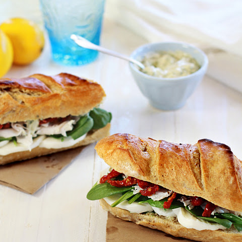 Turkey Baguette with Spinach, Artichoke and Sun Dried Tomatoes with Basil Dijon Aioli