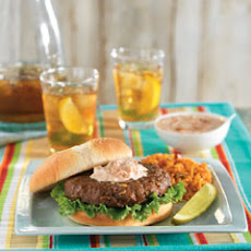 Lipton Onion Burgers With Creamy Salsa & Spanish Rice