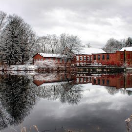 Mirror, Mirror by Kim Thomas-Hein - Buildings & Architecture Other Exteriors ( water, mill, reflection, mill pond, old, winter, brick, snow, pond, abandoned )