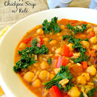 Red Pepper and Chickpea Soup with Kale