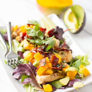 Grilled Chicken with Avocado Mango Salsa and Warm Honey Bacon Dressing