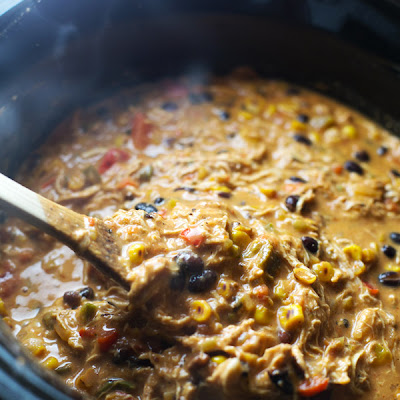 Crockpot Queso Chicken Chili