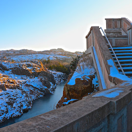 Snowy Stairway Over Dam by Kathy Suttles - Buildings & Architecture Other Exteriors