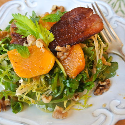 Frisée and Arugula Salad with Persimmon Vinaigrette