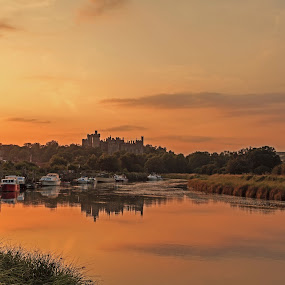 Arundel Sunset  by Darren Curtis - Landscapes Sunsets & Sunrises ( cityscapes, copyright-2014 all rights reserved, 2014-07 arundel sunset, landscapes of sussex, seascapes, sunsets, info@darrencurtisphotography.co.uk, living landscapes, landscapes, fine art photography., sussex landscapes, river )
