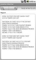 Screenshot of Aviation Weather