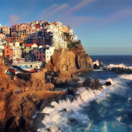 DELIGHTFUL MANAROLA by Paolo Lazzarotti - Landscapes Sunsets & Sunrises ( blue sky, sunset, fast moving clouds, 5 terre, seastorm, manarola, big waves, red cliffs, deep blue sea )