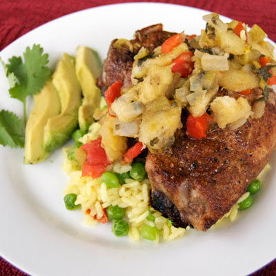 Spicy Caribbean Pork Chops w/ Rice & Peas