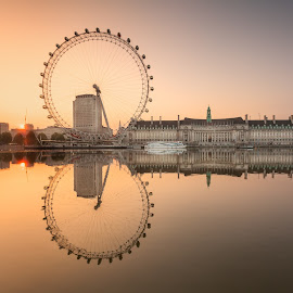 Wheel at Sunrise by George Johnson - City,  Street & Park  Skylines (  )