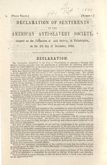 """Abolitionists relied on new, cheap printing processes to <a href=""""http://www.gilderlehrman.org/collections/eb483505-512f-4825-ab90-519456070966"""">promote immediate abolition</a> and to organize anti-slavery societies throughout the North."""