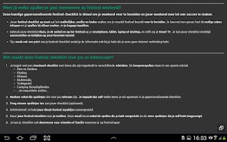 Screenshot of Festival Checklist (NL)