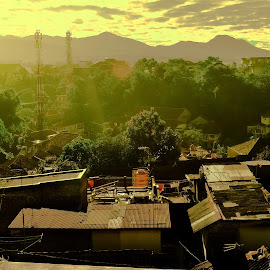 morning at front room by Andi Juansyah - City,  Street & Park  Neighborhoods ( mountain, sunrises, morning, bandung, Urban, City, Lifestyle )