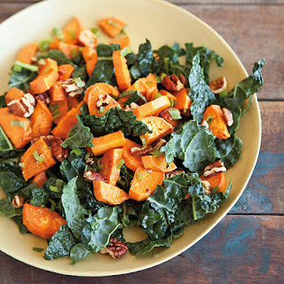 Roasted Sweet Potato Salad with Pecans and Green Onions