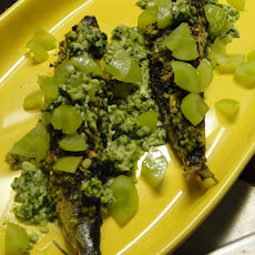 Twice Cooked Sardines and Green Grape Gremolata