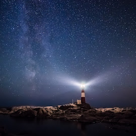 Lighthouse and the milky way by Richard Larssen - Landscapes Starscapes ( richard larssen, larssen, lighthouse, richard, norway,  )