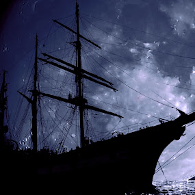 the ship and the moon by Fernando Ale - Digital Art Abstract ( , water, device, transportation )
