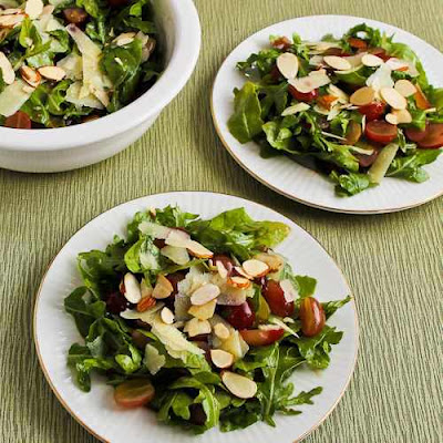 Arugula, Red Grape, and Shaved Manchego Salad with Almonds