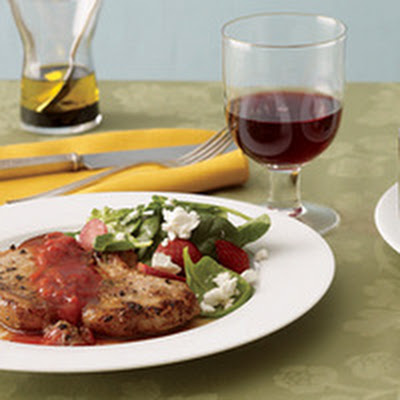 Ginger Pork Chops with Spinach Salad