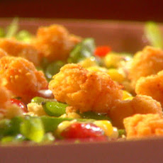 Fried Popcorn Shrimp with Mache, Roasted Corn, Asparagus and Grape Tomato Vinaigrette