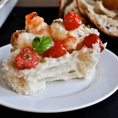 Broiled Shrimp with Tomatoes, Basil and Brie