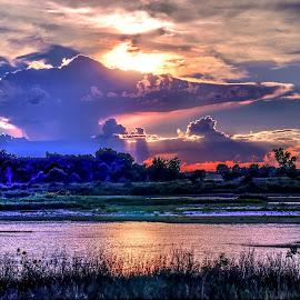 Genie's Lamp by Derrill Grabenstein - Landscapes Cloud Formations ( platte, sunset, cloud, river )