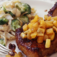Pork Chops with Golden Apple Raisin Sauce and Broccoli Whole Wheat Mac 'n' Cheddar