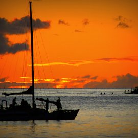 Catamaran Sunset by Mina Thompson - Landscapes Sunsets & Sunrises ( sunset, tropical, travel, beach, catamaran, hawaii, waikiki )