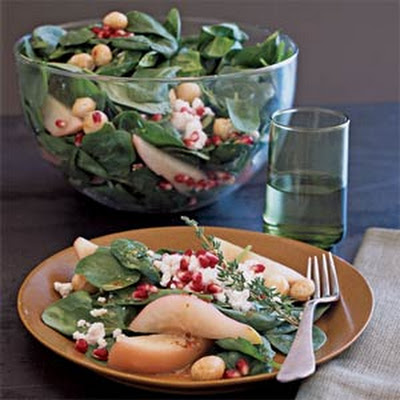 Poached Pear, Macadamia, and Spinach Salad with Goat Cheese