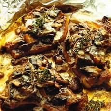 Pork Chops Baked with Wild Mushrooms and Creme Fraiche