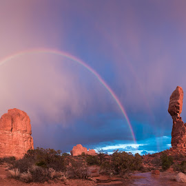Balanced by Matt Daugherty - Landscapes Caves & Formations ( arches national park, utah, sunset, balanced rock, landscape, rainbow )