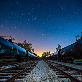 Tracks to the Big Dipper by Trevor Pottelberg - Landscapes Starscapes ( blackout, canada, stars, tillsonburg, ontario, night, scenic, astronomy, spring, starscape )