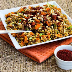 Vegan Farro and Roasted Sweet Potato Salad with Pine Nuts and Tahini-Sumac Vinaigrette