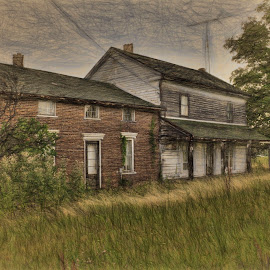Abandoned Homestead by Dennis Granzow - Digital Art Places ( abandoned building, digital art, digital drawing, architecture )