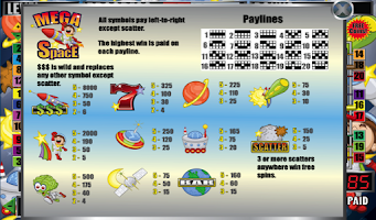 Screenshot of Mega Space Slot Machine