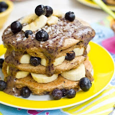 Blueberry Vanilla Bean Stacked Pancakes with Blueberry Glaze