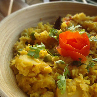 Khichdi with Eggplant Fritters