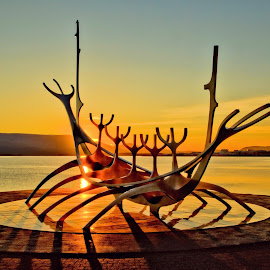 by Roxie Crouch - Buildings & Architecture Statues & Monuments ( sun voyager, sculpture, iceland, sunrays, Earth, Light, Landscapes, Views,  )