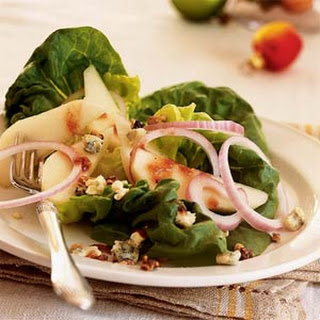 Pear, Walnut, and Blue Cheese Salad with Cranberry Vinaigrette