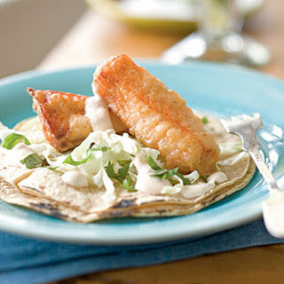 Beer-battered Salmon Tacos with Chipotle Crema