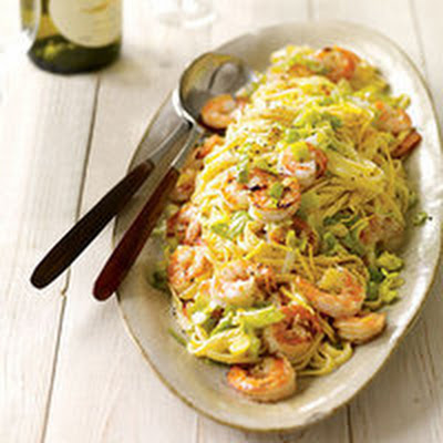 Leeky Linguine with Shrimp