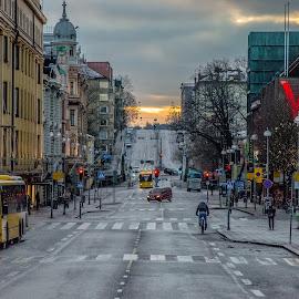 Sunday morning by Bojan Bilas - City,  Street & Park  Street Scenes ( street, finland, turku, sunrise, morning, city )