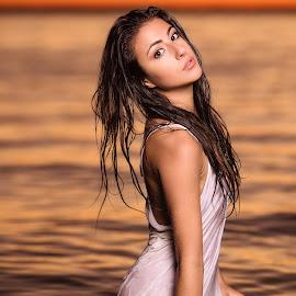 Sexy Sunset by Robert Jr Choquette - People Fashion ( water, orange, beautiful, white, lake, beach, karolane, choquette, curves, sexy, d800e, blouse, sunset, dress, wet, sheer, nikon, robert )