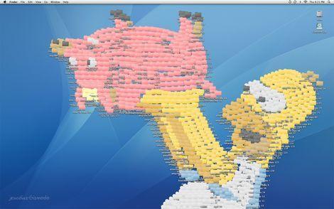 シンプソンをフォルダで作ったデスクトップアート