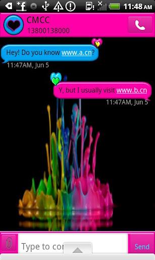 GO SMS THEME ColorSplatHeart