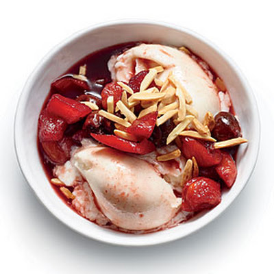 Poached Fruit over Vanilla Frozen Yogurt